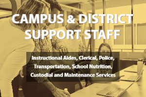 Campus and District Support Staff  Instructional Aides, Clerical, Police, Transportation, School Nutrition, Custodial