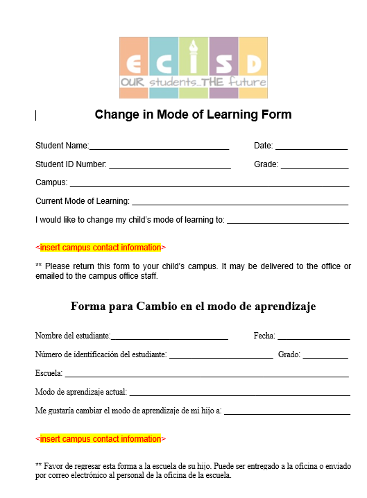 Change in Mode of Learning Form