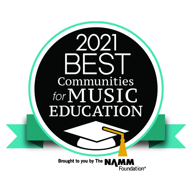 Black circle with NAMM logo and text: 2021 Best Communities for Music Education