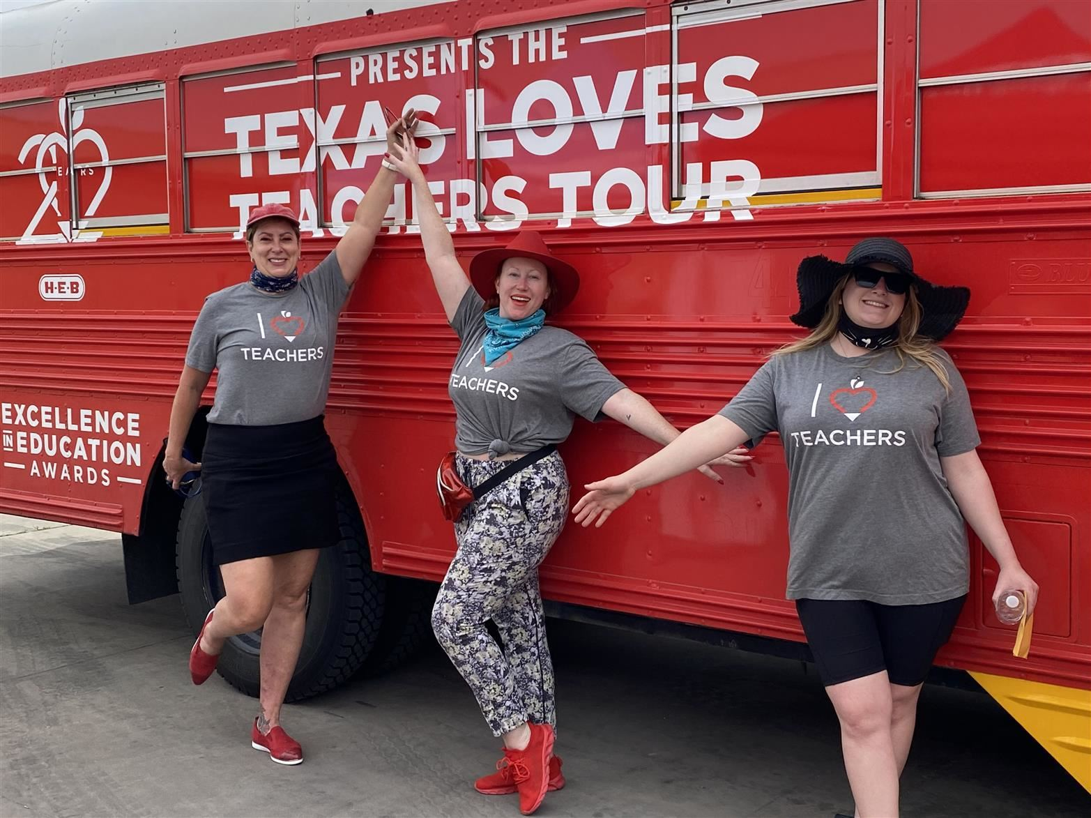 Three members of the HEB Texas Love Teachers Tour Bus at Cavazos Elementary