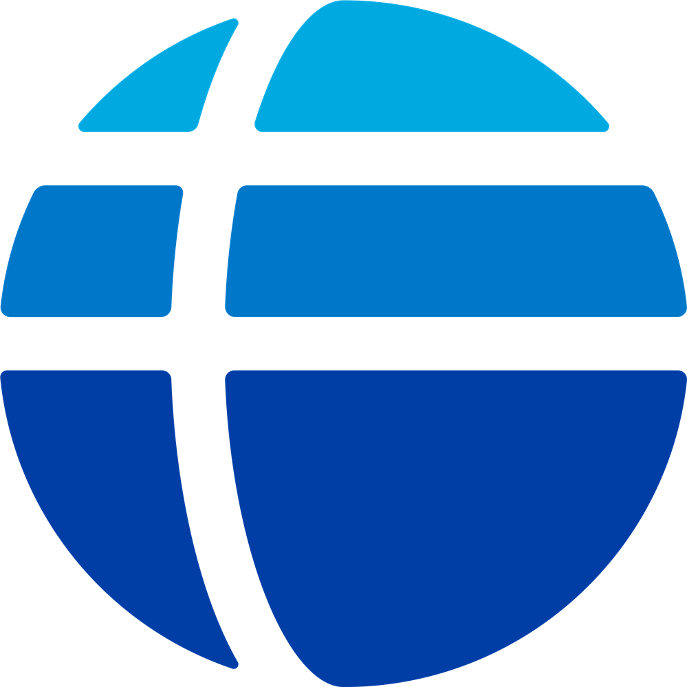 Fulbright logo; shape of the world with light blue and dark blue shades