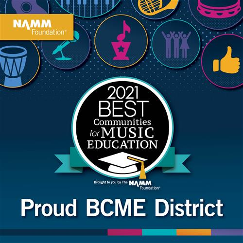 Black circle, white text, 2021 Best Communities for Music Education