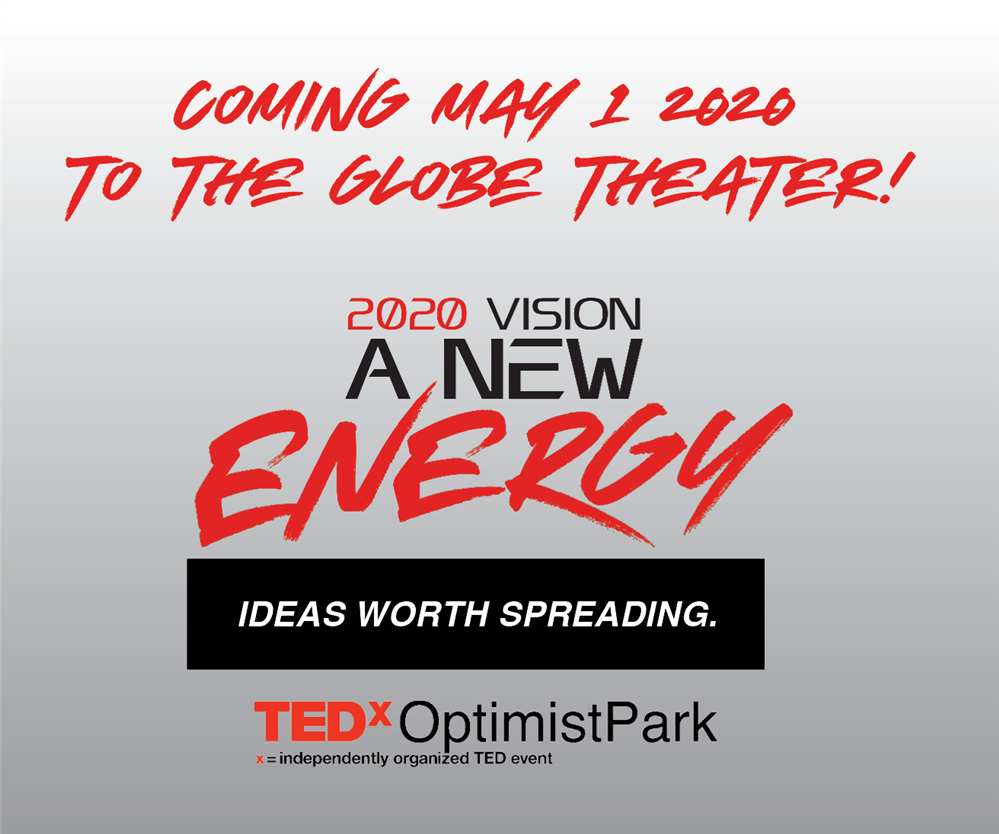 TEDx logo, red and black text on a white background; 2020 Vision, A New Energy is the title.