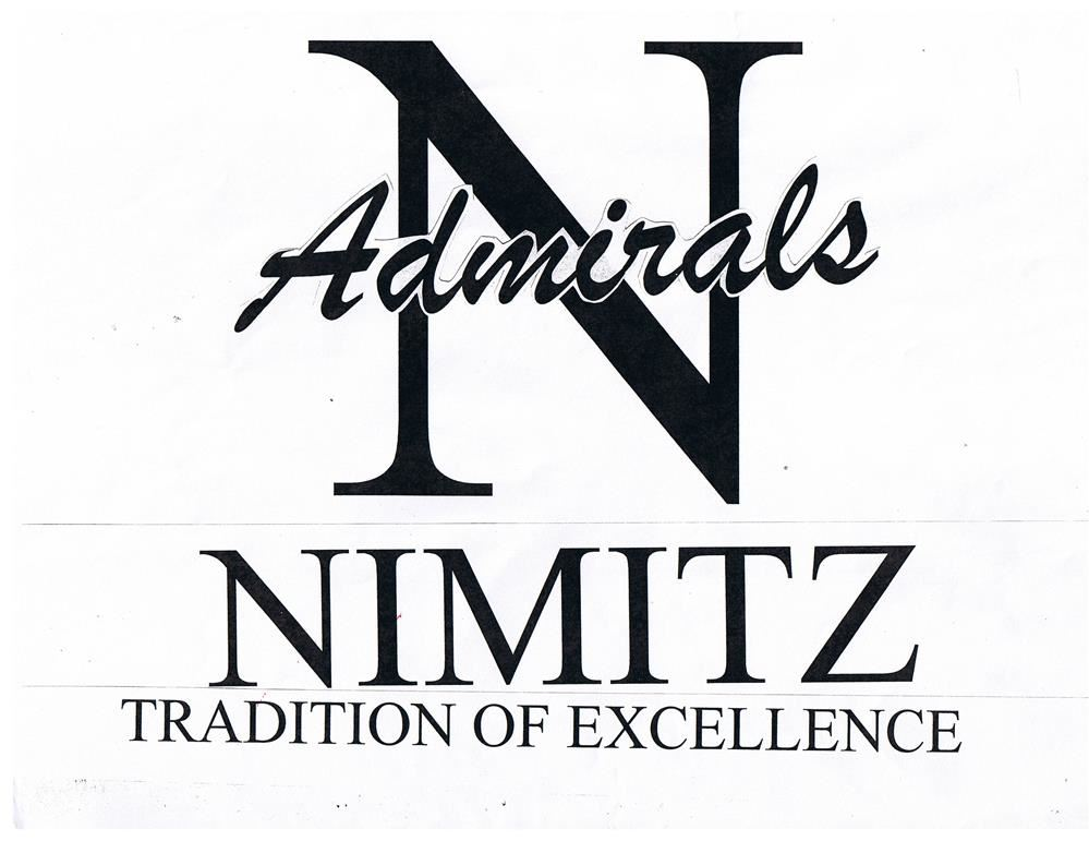 Nimitz logo; a capital N with the school's nickname, Admirals written along with an anchor and rope