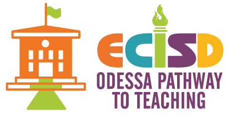 "Orange school house with a green flag on top, ECISD color logo with text ""Odessa Pathway to Teaching"" underneath"