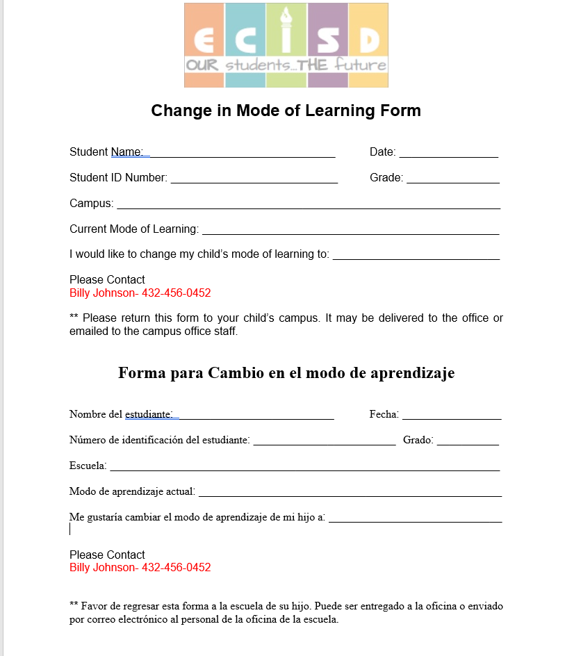 Change of Learning Form