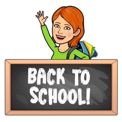 bitmoji of Mrs. Church saying Back to School